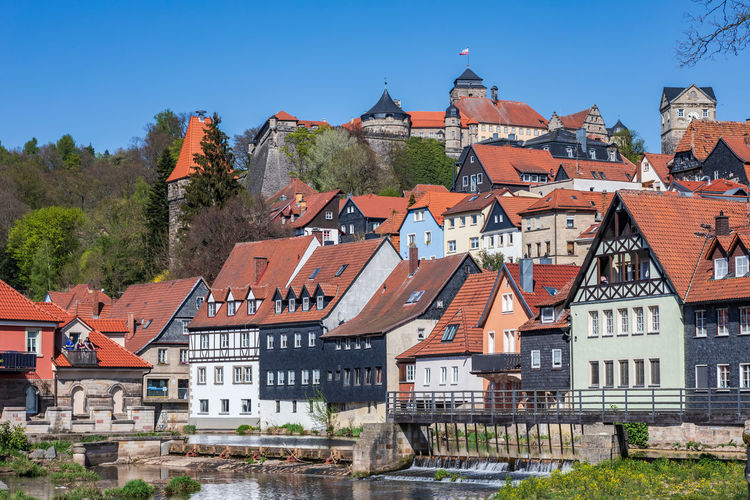 KRONACH, GERMANY - CIRCA APRIL, 2019: Townscape of Kronach in Bavaria, Germany City, Kronach, Upper Franconia, Architecture, Bavaria, Beautiful, Building, Castle, Cities, Cityscape, Culture, Destinations, Europe, Famous, Festival, German, Germany, Historic, History, House, Landmark, Landscape, Light, Medieval, Old, Outdoor, Place, Region, Square, Street, Summer, Tourism, Tourist, Tower, Traditional, Travel, View Kronach Germany Bavaria