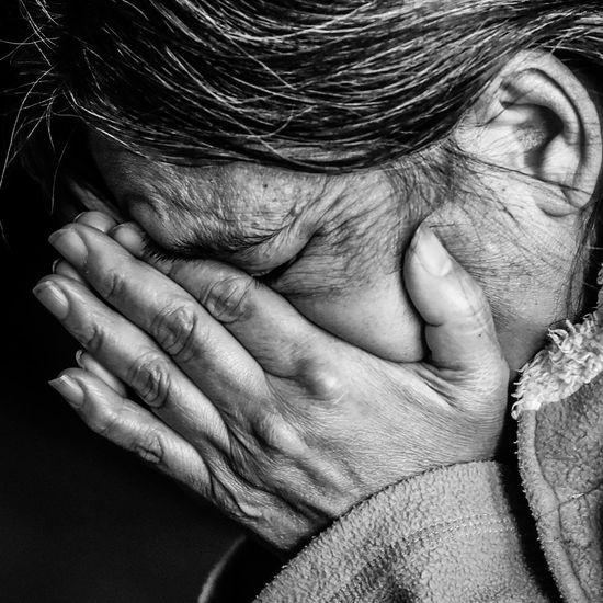 LIVIN ON A PRAYER Faces Portrait #faith #prayer Human Hand Men Human Eye Senior Adult Pain Human Skin Close-up Crying