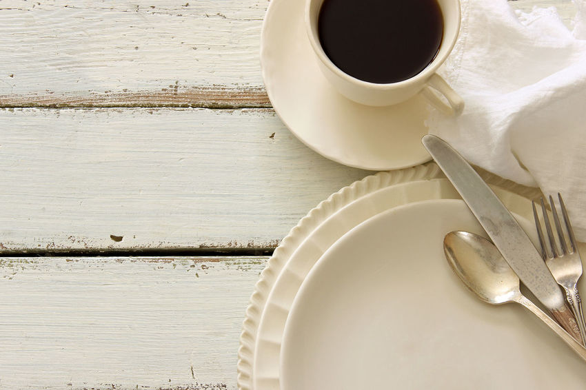 Meal time Backgrounds Charming Coffee Cup Cup And Saucer Cutlery Dishes Empty Plate Food And Drink Frame Kitchen Linen Napkin Mock Up Open Space Room For Copy Rustic Silver  Styled Table Table Setting Weathered Wood White White Wood Wood Table Top