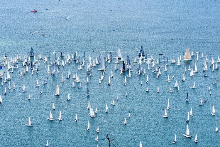 High angle view of sailboats on sea shore