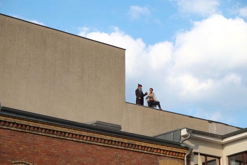 Smoke break. Rooftop Smoking Chatting Urban Architecture Lines Berlin Prenzlauerberg Breathing Space