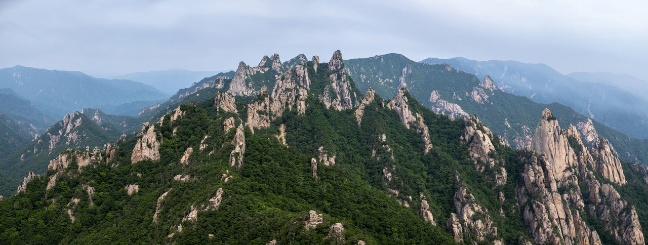 Panoramic view of rocky mountains range Hiking Korean National Park Mt. Seorak Nature Tranquility Trees Beauty In Nature Beauty In Nature, Clouds And Sky Day Hiking Trail Landscape Mountain Range Mountains Outdoors Panorama View Peak Rock - Object