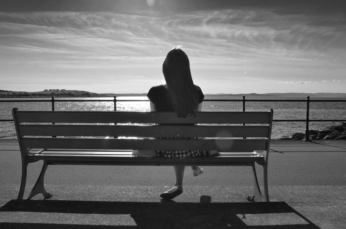 Bench Black & White Black And White Blackandwhite Blackandwhite Photography Calm Cloud Cloud - Sky Clouds Coast Female Harmony Leisure Activity Lifestyles Looking Peace Pensive Relaxation Sitting Sky Tranquil Scene Tranquility Watching Water Woman