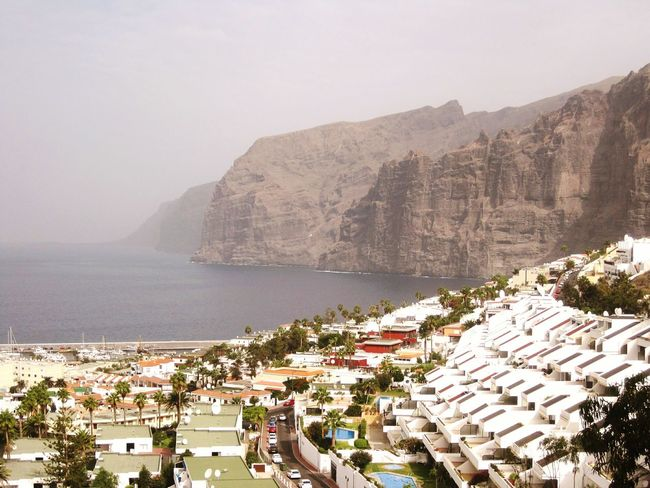 Losgigantes Gigantes Hotel Hotelview Tenerife Cliff 600mcliff Water Mountain Sea Beach Tree High Angle View Sky Landscape