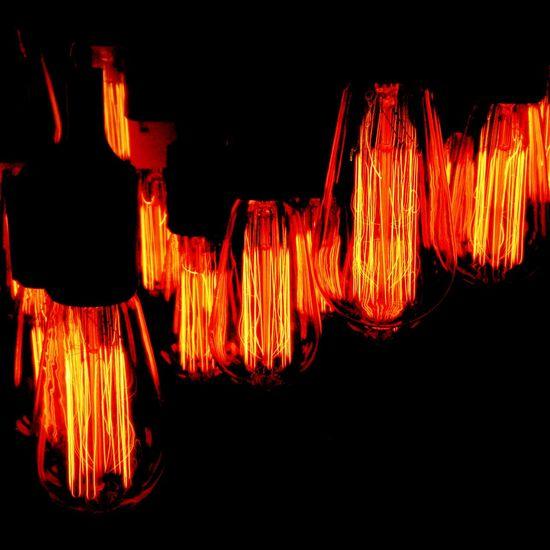 Orange Color Hanging Close-up Wooden Variation Vibrant Color Light Bulb Filament Light