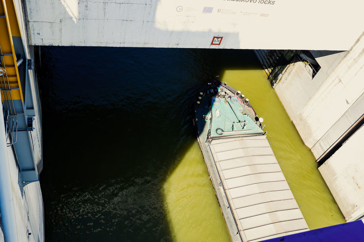 High angle view of boat in building