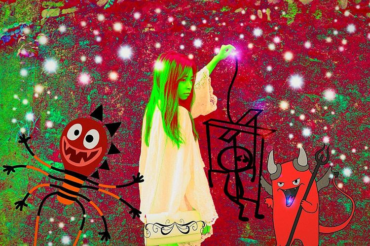 Monsters & Puppets & Devils  so Bold Green Hair & Polkadots & a Handbag  to Hold . Dance Puppet DANCE ♥ & Do As You're Told The Devil may Poke You with a Staph that is Cold! Your Monster May Love You💋 but Act Like a Fool  but What Did You Expect? from a Goul ?