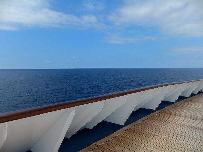 Blue Caribbean Caribbean Sea Clouds Deck Horizon Horizon Over Water Ocean Outdoors Panorama Railing Scenics Sea Sky Tranquil Scene View From Cruise Ship Water