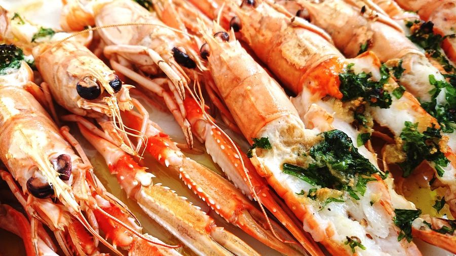 Norway Lobsters I Love Cooking Nice Colours Seafoods Fungus Backgrounds Full Frame Close-up Prepared Food Served