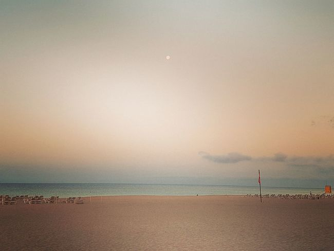 Beach Sand Sea Horizon Over Water Water Sky Summer Travel Destinations Lifeguard  Tranquility Vacations Landscape Nature Beauty In Nature Blue Day Lifeguard Hut Moonset Moonset At Sunrise Fuerteventura Playa De Jandia