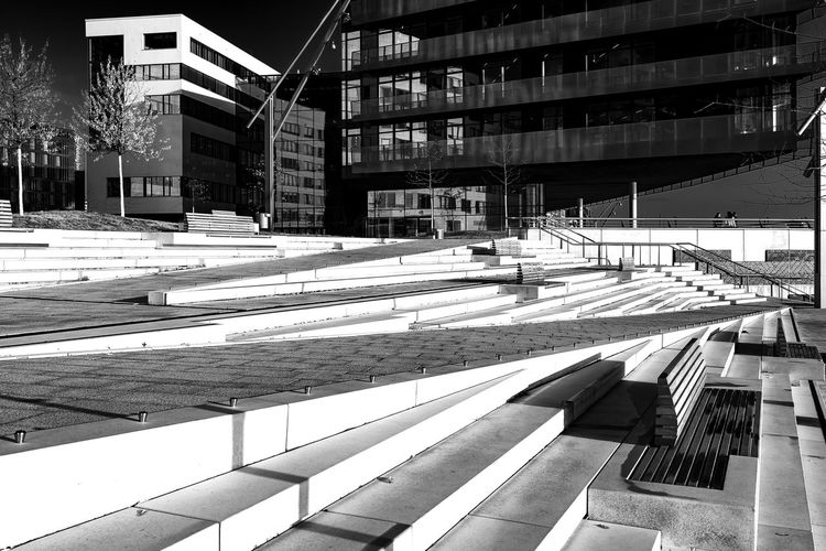 hafenuniversity Steps And Stairs Hafencity Hamburg Modern Architecture Bnw Blackandwhite Lanterns Bench Building Exterior Architecture Built Structure City Building Day No People Sunlight Nature Street Outdoors Residential District Road Shadow Transportation Window City Life Staircase Crosswalk Absence