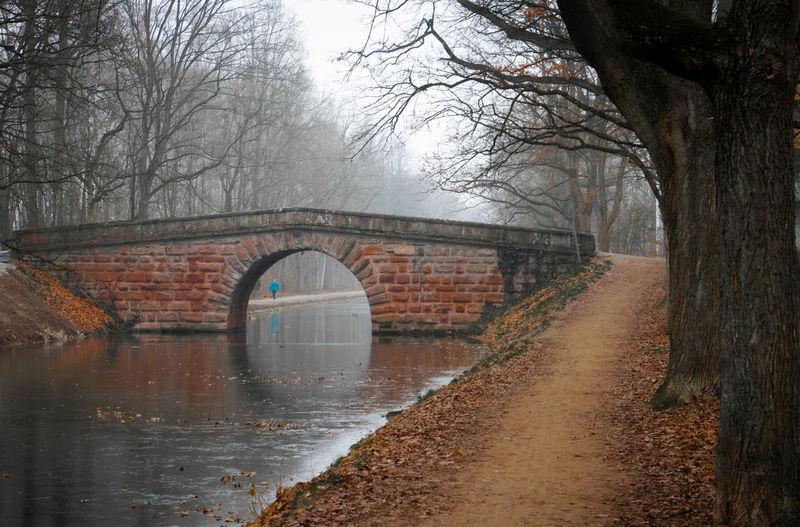 Arch bridge over canal against sky