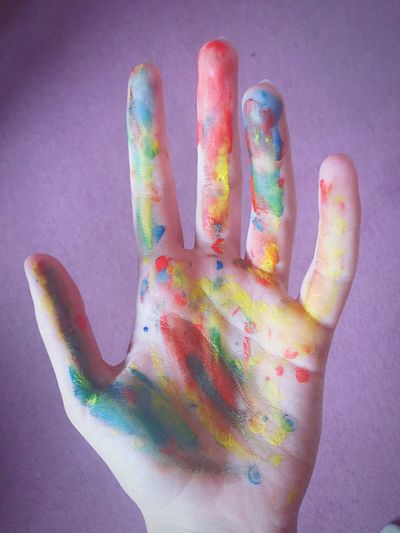 Human Hand Palm Multi Colored Human Body Part Paint Art Hand Colours First Eyeem Photo