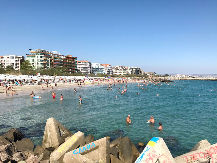 Pomorie, Bulgaria - September 18, 2017: People enjoying their time at Pomorie Beach, Bulgaria. Holiday Lifestyle Pomorie Travel Beach Bulgaria Burgas  Clear Sky Day Editorial  Enjoyment Europe Lifestyles Outdoors People Photography Themes Sea Sky Summer Tourism Vacation
