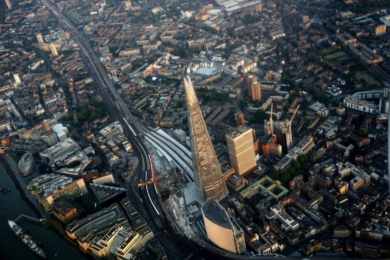 Aerial View Of Shard London Bridge With Cityscape