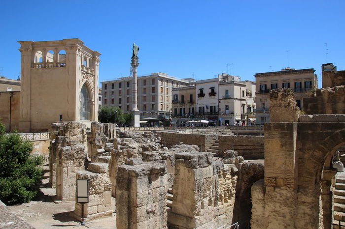 Archeological site in the heart of Lecce, Puglia, South Italy. Cultural visit in south Italy. Lecce Lecce - Italia Lecce City Puglia South Italy Ancient Ancient Civilization Architectural Column Architecture Blue Building Exterior Built Structure City Clear Sky Cultural Visit Day History Italy No People Old Ruin Outdoors Sculpture Sky Statue Travel Destinations