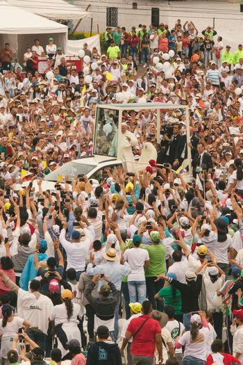 Colombia El Papa El Papa En Colombia PAPA FRANCESCO Papa Francisco Pope Villavicencio Villavicencio Meta Adult Adults Only Audience Crowd Day Fan - Enthusiast Large Group Of People Men People Pope Francis  Togetherness