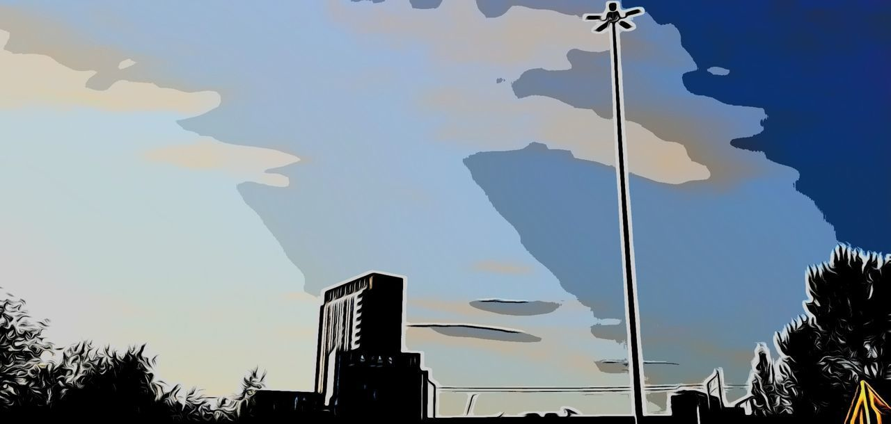 sky, nature, no people, architecture, building exterior, built structure, low angle view, silhouette, sunlight, outdoors, tree, building, day, reflection, city, cloud - sky, blue, shadow, communication, government