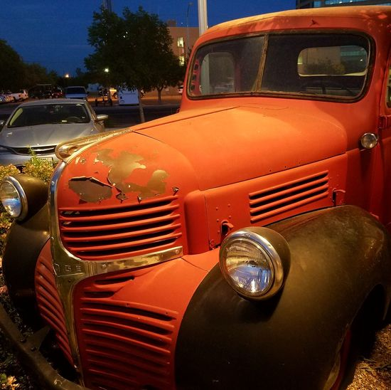 Classic Truck Don't Make Them Like They Used To Old Timer Cool Old Truck Orange Black Headlight Mode Of Transport Transportation No People Close-up Night Photography Samsung Galaxy S7 Edge The Street Photographer - 2017 EyeEm Awards Midland, TX
