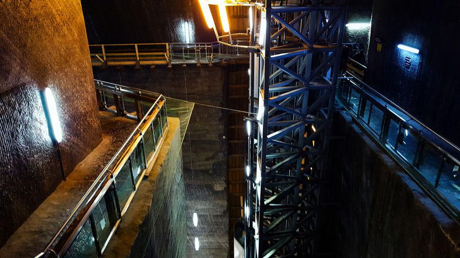 High angle view of illuminated salt mine
