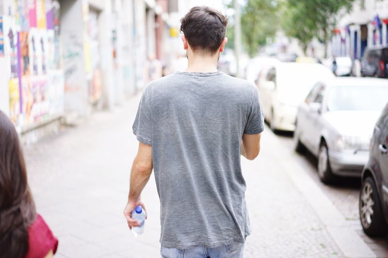 Young Man Rear View Street Fashion Grey Tshirt
