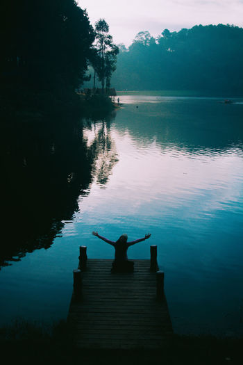 Green Morning Nature Silhouette Beauty In Nature Forest Idyllic Lake Lake View Nature Non-urban Scene One Person Outdoors Pier Plant Real People Reflection Scenics - Nature Silhouette Sky Standing Tranquil Scene Tranquility Tree Water International Women's Day 2019
