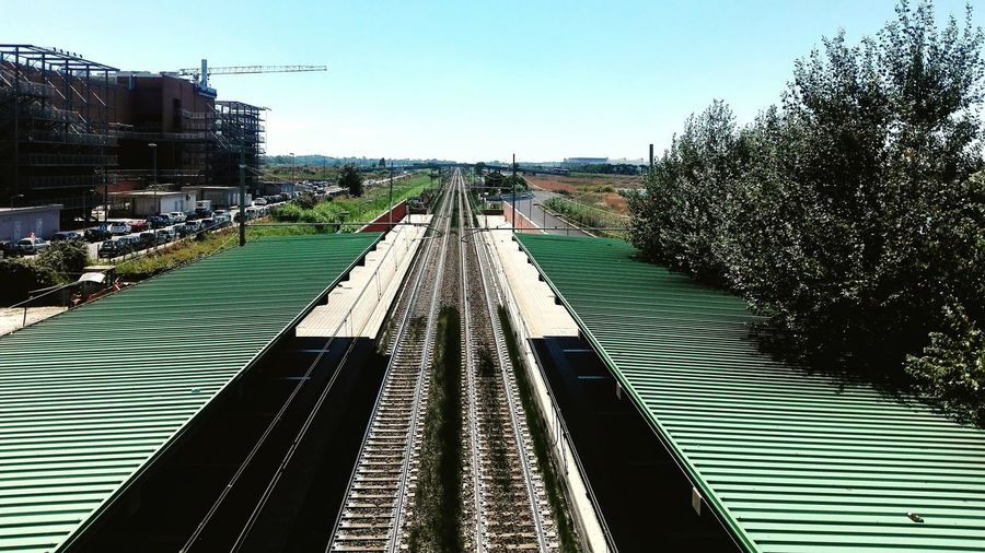 Public Transportation Transportation Railroad Tracks Built Structure Outdoors Day Sky No People Clear Sky Tree Business Finance And Industry Architecture EyeEm Selects Travel Destinations Italy 🇮🇹 Directly Above Electricity  Train Station Train Huawei P8 Lite