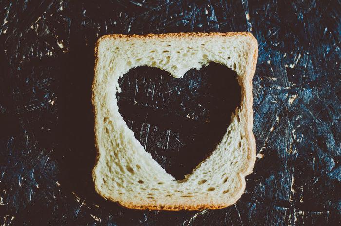 Bakery Bread With Heart Shape Cuted Breakfast Food And Drink Heart Heart Hole Heart Shape Love Love ♥ Shape Of Heart Valentine Valentine's Day