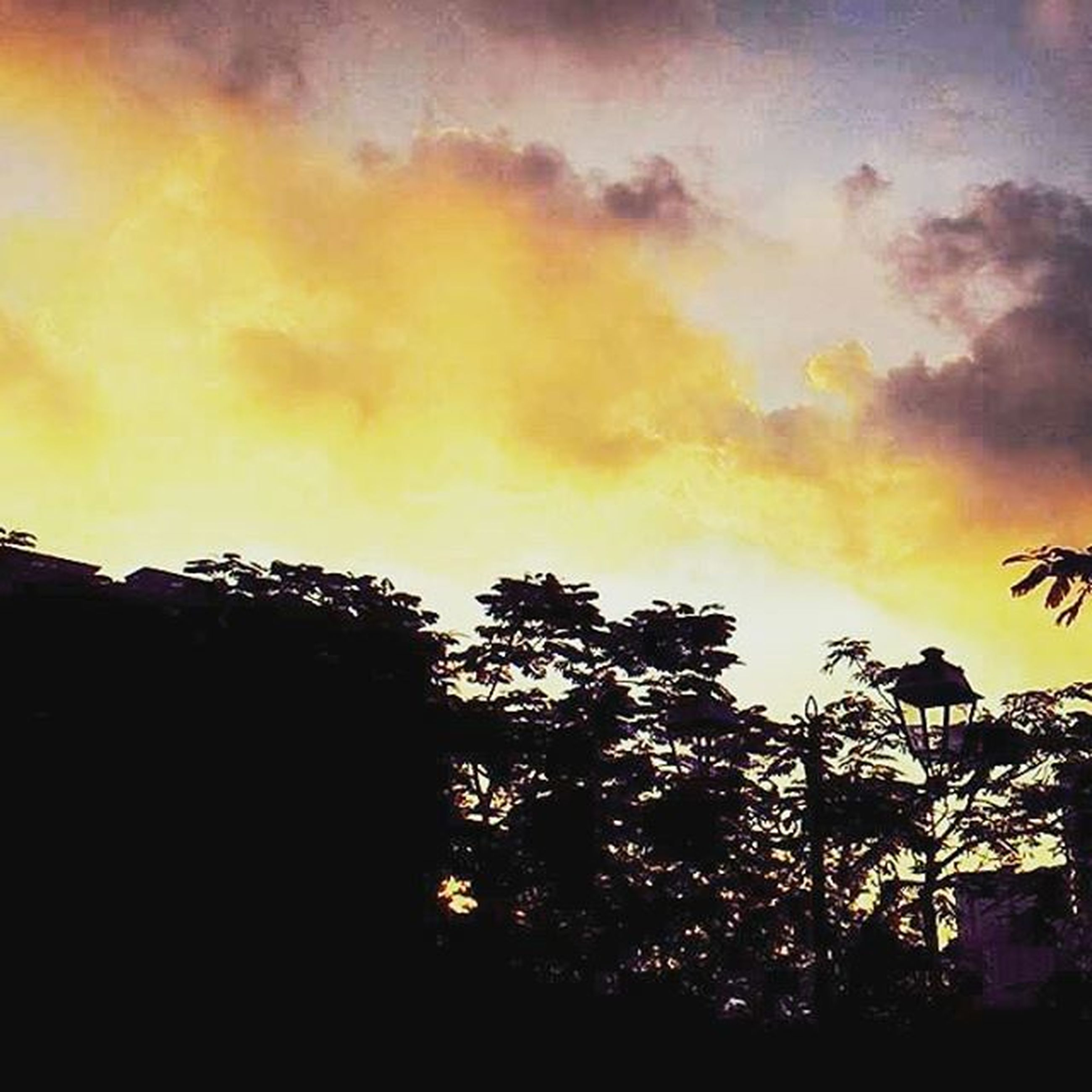 sky, sunset, silhouette, low angle view, cloud - sky, building exterior, built structure, architecture, tree, cloudy, dusk, orange color, house, nature, cloud, outdoors, street light, beauty in nature, no people, overcast