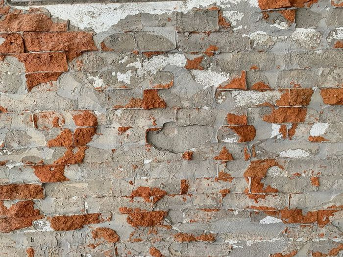 Wall - Building Feature Brick Backgrounds Wall Full Frame Brick Wall Textured  Weathered Built Structure Old Architecture No People Pattern Rough Damaged Day Run-down Bad Condition History Close-up Deterioration Dirty Outdoors Cement Concrete