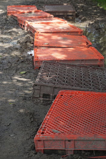 High angle view of red construction site