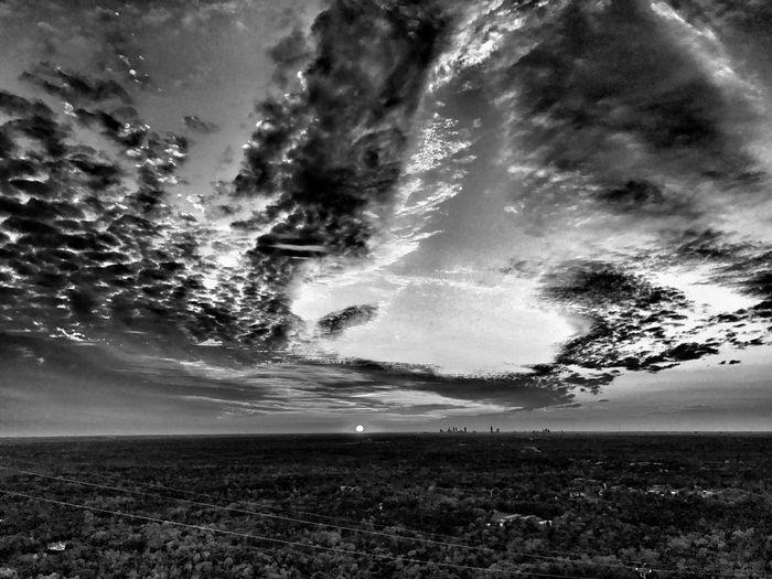 Blackandwhite Sunset Clouds And Sky