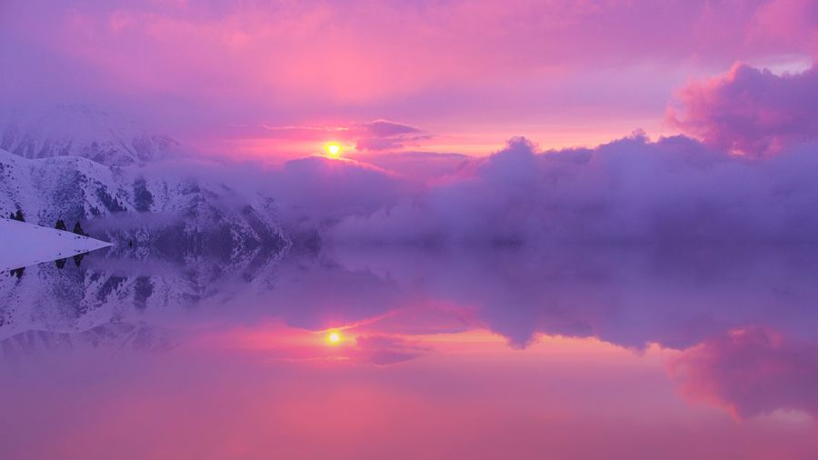 Evening mists Sky Scenics - Nature Beauty In Nature Cloud - Sky Tranquility Tranquil Scene Sunset Sun Nature Environment Landscape Dramatic Sky Idyllic Fog Reflection No People Pink Color Atmospheric Mood Purple