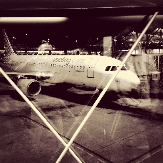 Airport Madrid Barajas, Spain - reflection Airport #aircraft #airliner #madrid #spain #reflection Night #iphone #iphonephoto Iphonephotography #snapseed #bw Black And White #iamcoolsk