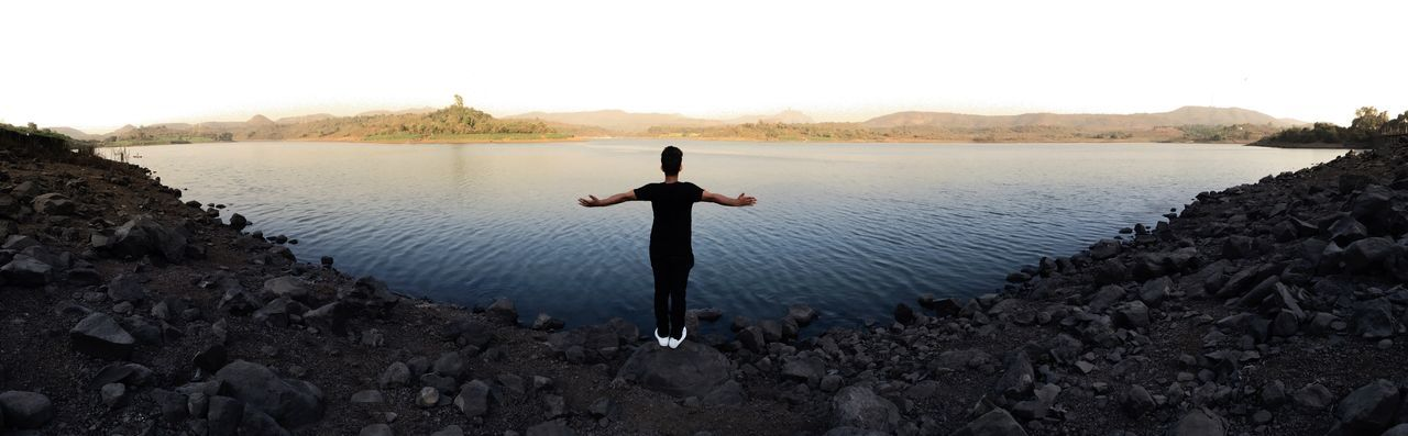 Lake Outdoors Spirituality Healthy Lifestyle Full Length Zen-like Tranquility One Person Water Beauty In Nature Nature Panorama Panoramic Photography IPhone Iphonephotography IPhone 6s Panoramashot