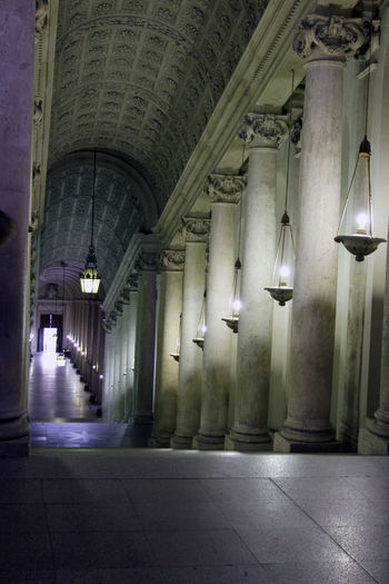 Vatican Arcade Arch Architectural Column Architecture Building Built Structure Ceiling Colonnade Corridor Direction Electric Lamp Flooring History Illuminated In A Row Indoors  Light Lighting Equipment No People The Past The Way Forward Tiled Floor Travel Destinations