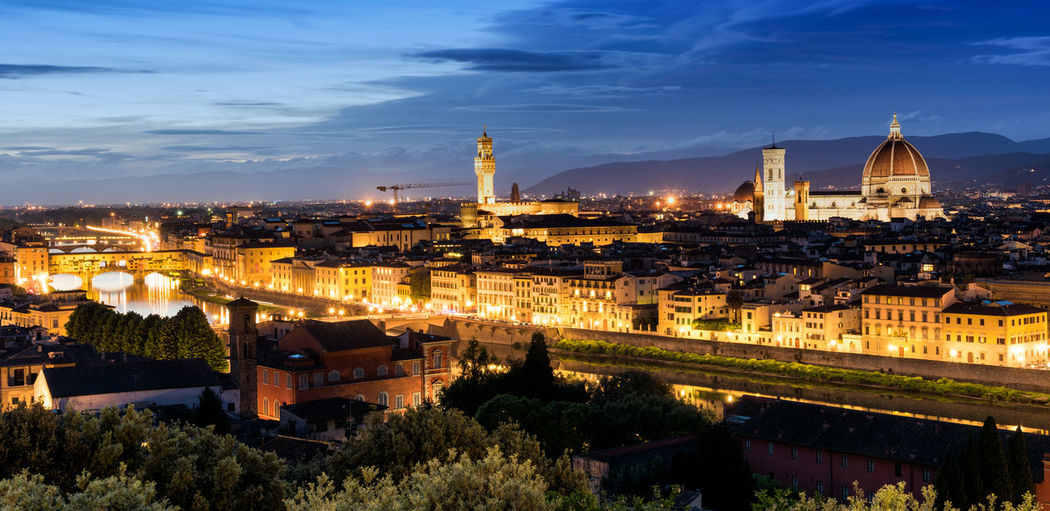 Florence Florence Italy Architecture Belief Building Building Exterior Built Structure City Cityscape Cloud - Sky Illuminated Nature No People Outdoors Place Of Worship Plant Religion Sky Spirituality Tourism Travel Travel Destinations
