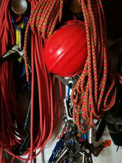 Mountain Climbing Rope Helmet Still Life