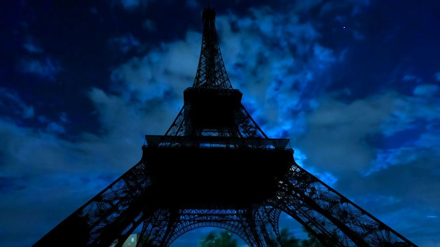 full moon shining of backlit Tour Eiffel at night. Paris in France. Paris Paris, France  Paris ❤ Night Sunset Dawn Sky And Clouds Sky Skyline Clouds Fullmoon Dark Black Color Shiluette Backlight Cloudscape Cityscape Landmark Monument Tour Eiffel Tour Eiffel, Paris. Eifel Tower Tower Building Cloud - Sky Architecture Travel Destinations Built Structure Low Angle View City Metal Nature History No People Travel Tourism The Past Dusk Outdoors Illuminated Directly Below