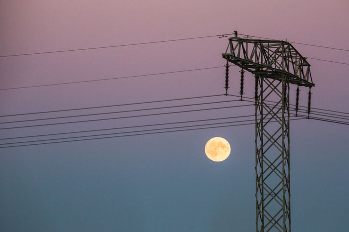Cable Electrical Tower Electricity Pylon Energy Energy Consumption Evening Evening Sky Full Moon How Do You See Climate Change? Moon No Clouds Pastel Colors Pastel Colours Power Line  Power Lines Power Pole Power Supply Super Moon Technology Utility Pole Learn & Shoot: Simplicity Pastel Power Colour Of Life