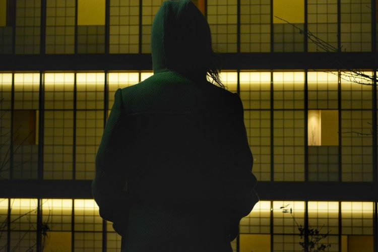 Rear view of woman standing against illuminated building