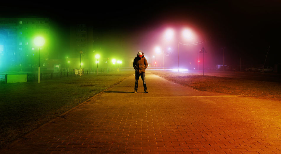 Fog Night Misty Night Lights Night Street Nightphotography Red Adult Darkness And Light Fog Full Length Illuminated Mistery Night One Person Outdoors People Streetphotography Trend AI Now