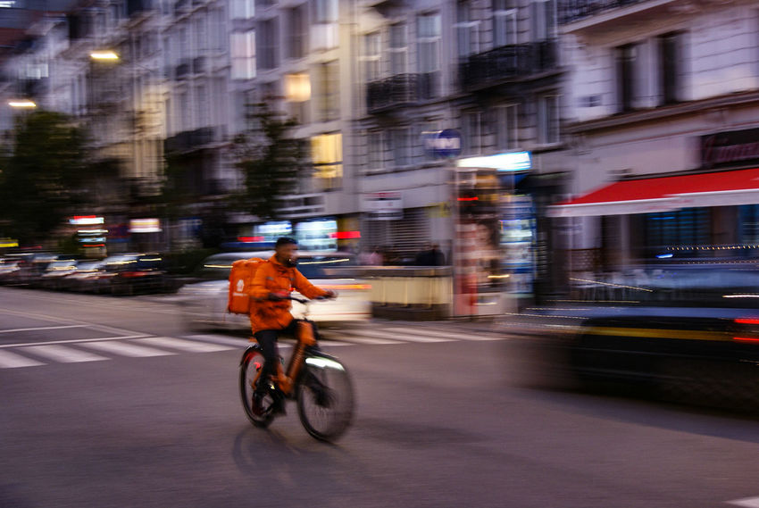 565435yy City Motion Bicycle Speed Blurred Motion Public Transportation Street City Street Cycling City Life