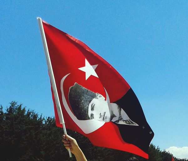 Cropped Hand Holding Turkish Flag Against Sky