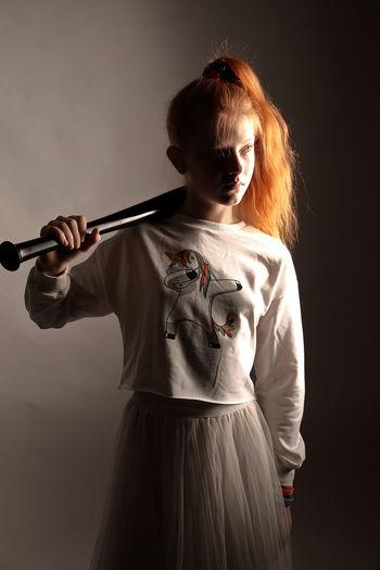 girl with bat Girl Bat Baseball Bat Redhead Red Hair Light And Shadow Studio Shot Women Freckle Dyed Hair My Best Photo International Women's Day 2019 The Portraitist - 2019 EyeEm Awards