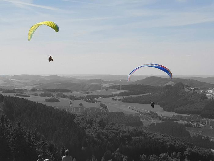 Eyeem Black And White Colored Sky EyeEm New Here EyeEm ready Eyeem Colorkey Nature Beauty In Nature Beautiful Nature No Animal Funsport Info The Sky Color In The Sky High Angel View Paragliding Parachute Extreme Sports Flying Pilot Aerobatics Multi Colored Sport Stunt Person Mid-air