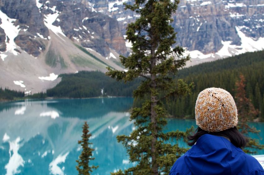 Banff National Park  Canadian Rockies  Hiking In Awe Of Nature Moraine Lake  Natural Beauty Woman From Behind Looking At Landscape Adventure Blue Water Canada Glacial Lake Landscape Surreal Tourism My Best Travel Photo A New Beginning