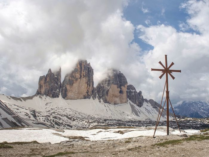 Chapel chiesetta alpina, 26 may 2018. chapel at tre cime chalet. dolomites mountain in tyrol, italy
