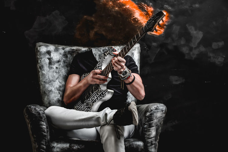 guitarist Musician Music Performance Singer  Instrument Guitar Portrait Concert Guitarist Festival Rock Mad Evil Dark Darkness Hell King Fire Men Sitting Date Night - Romance Stage - Performance Space Performing Arts Event Music Concert Stage A New Perspective On Life Analogue Sound