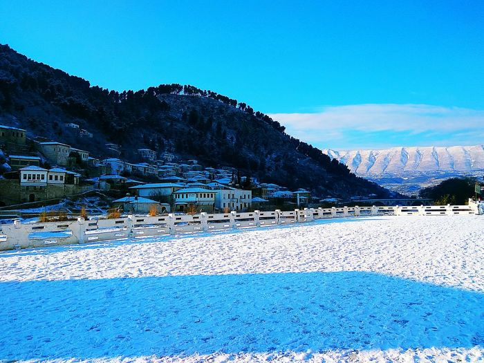 Landscape Scenics Mountain Sky Gorica , Berat Snow Outdoors Nature Beauty In Nature No People Morning Sunshine Houses On Hill Visit Albania Unesco World Heritage Unesco Berat, Albania Traveling Destinations City Architecture Tourist Attraction  Travel Destinations Houses Bridge Of Gorica Albania Smartphonephotography The City Light Minimalist Architecture